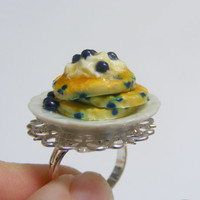 Scented or Unscented Blueberry Pancake Ring - Miniature Food Jewelry,Handmade Jewelry Ring