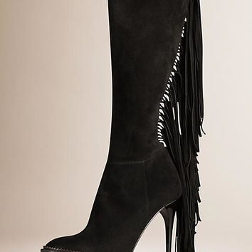 Knee-high Suede Boots with Fringe
