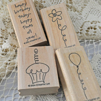 "Stampin Up Stamp Set ""Birthday Best"" 2004 RETIRED and MINT Rubber Stamp Set,for Scrapbooking. Cardmaking, Journaling, Crafts"