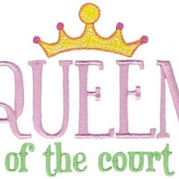 Hand Towel - Luxury White Cotton - Queen of the Court - Tennis gift idea