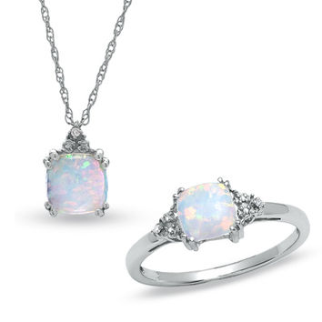Lab-Created Opal Ring and Pendant Set in 14K White Gold with Diamonds