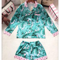 Victoria's Secret Women Pattern Print Shirt Shorts Robe Sleepwear Loungewear Set Two-Piece