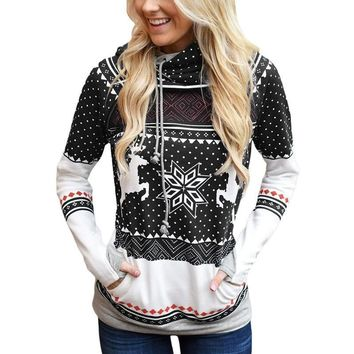Hoodies Tops Christmas Zippers Print With Pocket Hats [1562497187894]
