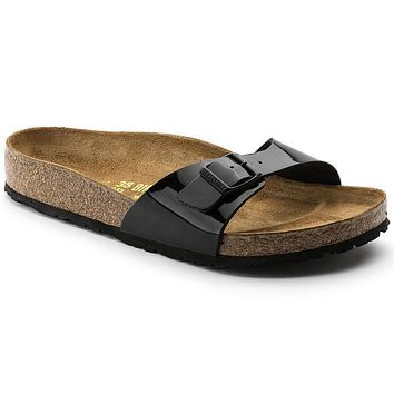 Birkenstock Madrid Birko Flor Patent Black Patent 0040301/0040303 Sandals - Best Deal