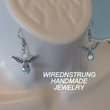 Swarovski Crystal Angel Earrings, Inspirational Jewelry, Drop style Earrings, Angel Jewelry, Gift for her, Women's Jewelry, Fashion Jewelry