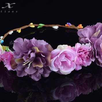 Roses Carnations Peony Flower Halo Bridal Floral Crown Hair Wreath Mint Head Wreath Wedding Accessories Headpiece Bridesmaid
