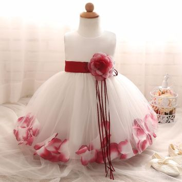 Flower Baby Girl Dress Toddler Kids Girl 1-2 Years Birthday Dresses with Flower Hem Newborn Baptism Clothing Infant Baby Clohtes