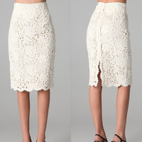 new elegant ladies Sexy Knee - length thin white Crochet lace skirt