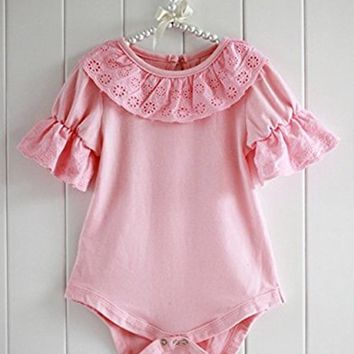 Baby Girls Short Sleeve Solid Color Ruffle Lace Bodysuit