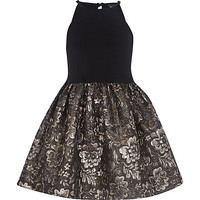 River Island Girls black jacquard prom dress