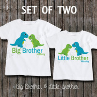 Big Brother and Little Brother Dinosaur Sibling Shirt Set - Big Brother T-Rex and Little Brother T-Rex Personalized Sibling Shirts - 2