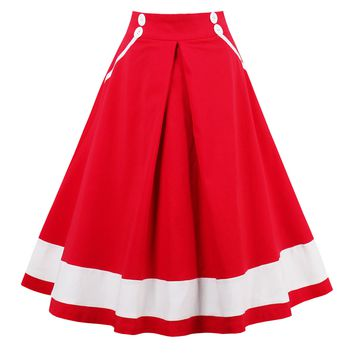 Chicloth Red High Waist Botton White Hem Sailor Skirt