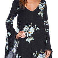Black Chiffon Floral Bell Sleeve Mini Dress
