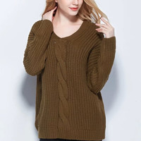 V-Neck Button Back Knitted Sweater