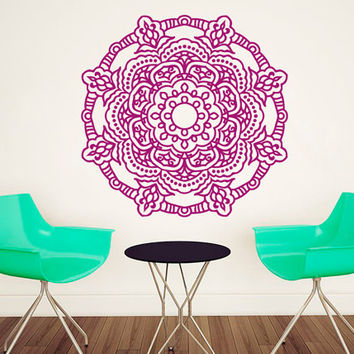 Mandala Wall Decal Lotus Stickers Sunshine Vinyl Decals Flower Art Mural Home Decor Interior Design Bedroom Sticker Bohemian Decor KI48
