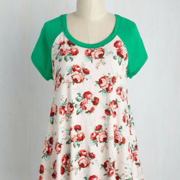 Petals at Play Top in Grass | Mod Retro Vintage Short Sleeve Shirts | ModCloth.com