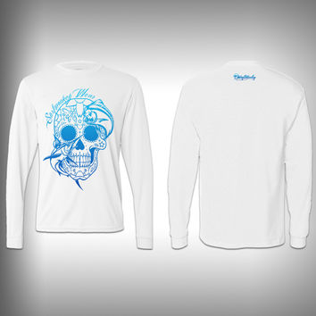 Blue - Sugar Skull Mahi - Performance Shirt - Fishing Shirt