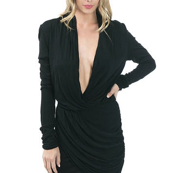 Long Sleeve Black Draped Front Dress