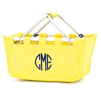 Yellow Market Tote, Easter Basket, Monogrammed Basket, Personalized Tote Bag, Pool Bag, Teacher Gift, Summer Bag