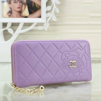 CHANEL Popular Women Pure Color Leather Metal Zipper Wallet Purse(5-Color) Purple I-OM-NBPF