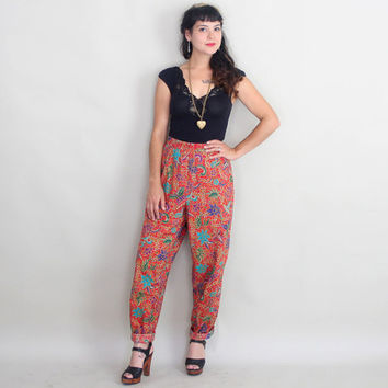 80s BATIK Harem Pants | Vintage 1980s Ethnic HIGH WAISTED Cotton Trousers | m/l