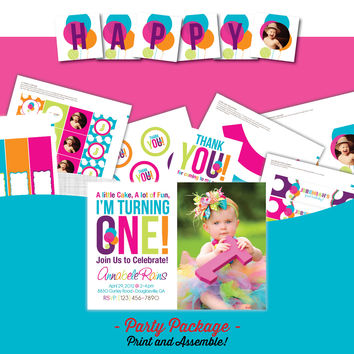 Rainbow First Birthday Party Package