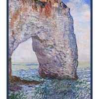 The Manneporte Near Etretat inspired by Claude Monet's impressionist painting Counted Cross Stitch or Counted Needlepoint Pattern