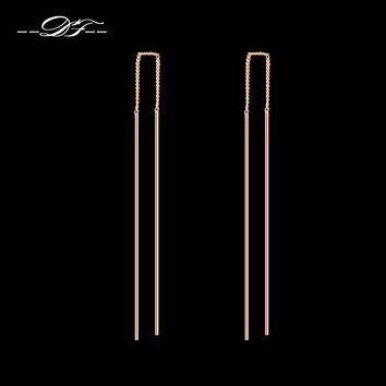 Simple Strip Bar Long Line Chain Drop/Dangle Earrings 18K Rose Gold Plated Fashion Jewelry Strike For Women Earring DFE789