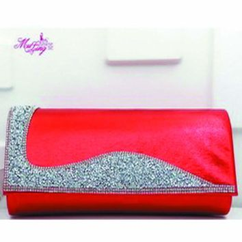 European American New Handbag Fashion Wedding Bride Messenger Bag Evening Diamonds Women Wallet Female Party Bag Solid Color Red