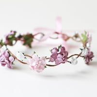 rose hair wreath / lilac pink white bridal headpiece, flower crown headband, floral, whimsical, romantic, pastel.