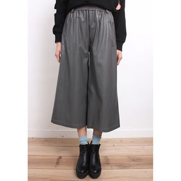 Imitated Leather Cropped Pants