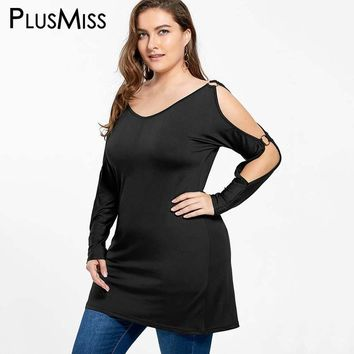 Plus Size 5XL Sexy Cold Shoulder Tunic Tops Tees Long T-shirt Women Autumn 2017 Long Sleeve Cut Out Black T Shirt Ladies