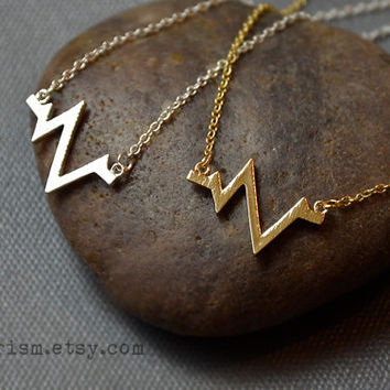 Heartbeat Symbol Charm Pendant / Gold or Silver Chain Necklace / Dainty Delicate necklace / Simple Necklace | Heartbeat Pulse Necklace