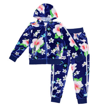 Winter Children clothing sets for girls long sleeve sweater hooded jackets  and long pants Floral
