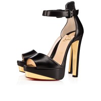 Tuctopen 140 Black/Gold Leather - Women Shoes - Christian Louboutin