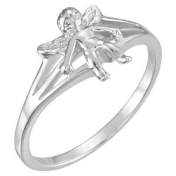Sterling Silver Angel Chastity Ring Size 7 with Packaging