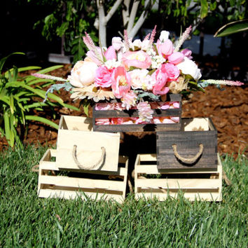 Wooden Box/Wooden Crate/Blush Pink, Off White Peony, Rose, Wedding Centerpiece