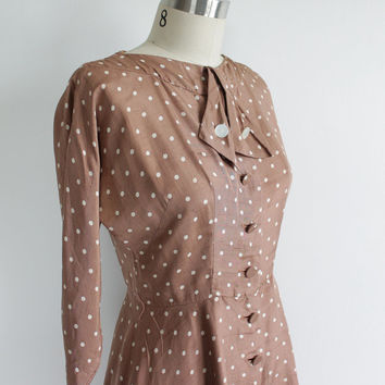 Vintage 50s Silk Polka Dot Bow 3/4 Dress | women's 4 6