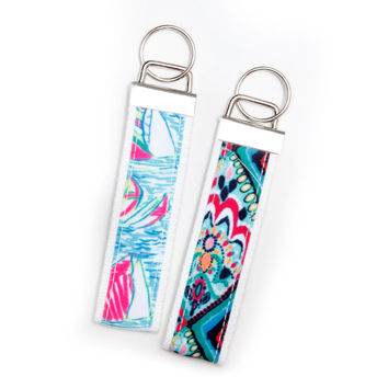 Cute Trendy Diamond and Sailboat Keychain Key FOB