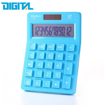 C-6 Comix Colorful Electric Calculator Simple Fashion Lovely Mini Dual Power Supply Calculator Solar Energy Counter for Office