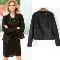 Autumn Women Leather Outwear Jacket a13046