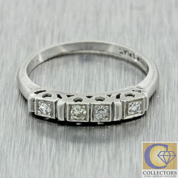 1930s Antique Art Deco Estate Platinum .10ctw Old Cut Diamond Wedding Band Ring