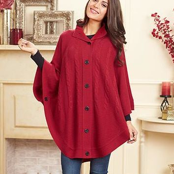 Women's Poncho Button Up Cable Knit Sweater Jacket Wrap