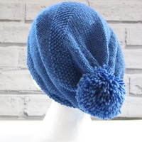 hand knitted wool slouchy beanie hat with large pompom, bobble hat, warm hat, winter fashion, ready to ship, UK seller