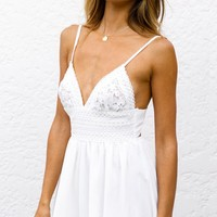 Bondi Beach Lace Sleeveless Spaghetti Strap V Neck Cut Out Back Romper Playsuit - 2 Colors Available