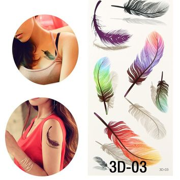 Colorful Small Feathers Henna Fake Tattoo Paste For Women Tattoo Sleeve Transfer 3d Waterproof Temporary Tatoos Sticker For Body