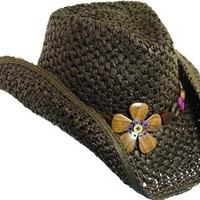 Amazon.com: Dorfman Pacific Western Cowgirl Hat with Wood Flowers & Tail Feathers (Brown): Clothing