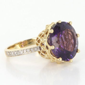 Vintage 14k Gold Amethyst Diamond Crown Cocktail Ring Estate Fine Jewelry 7.25