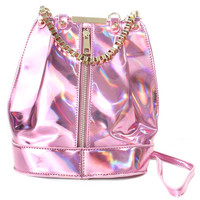 HOLOGRAM PINK ZIP BAG