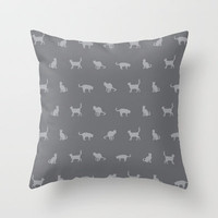 Grey Cute Cat Pattern Throw Pillow by 1986